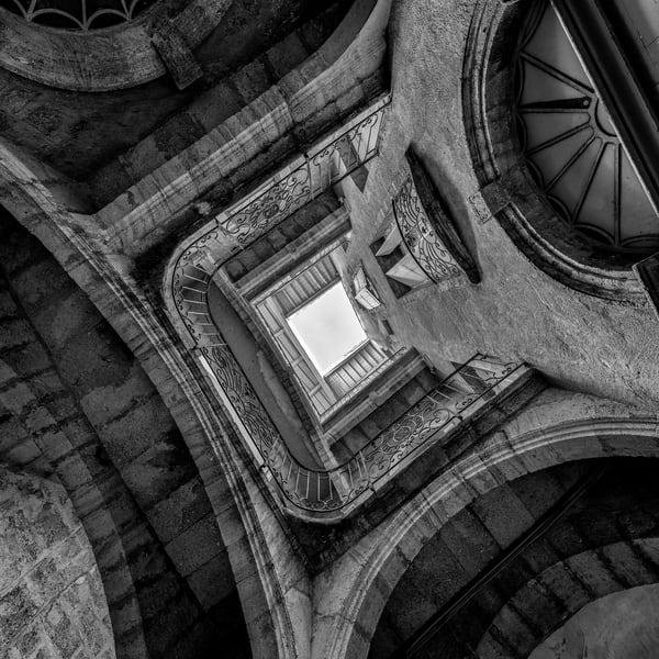 Courtyard Staircase - Pezenas - France B&W