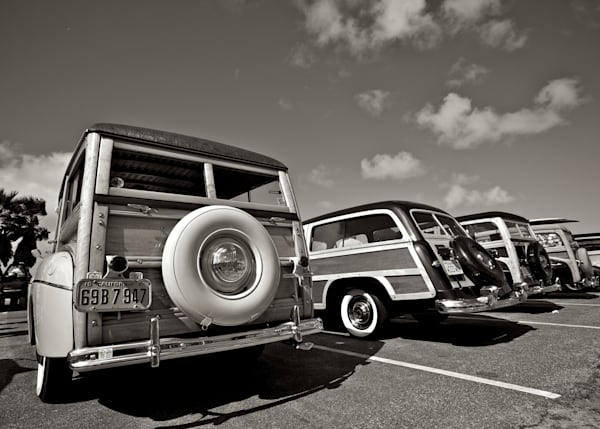 Classic Yesteryear Photo of Woodies in Black and White