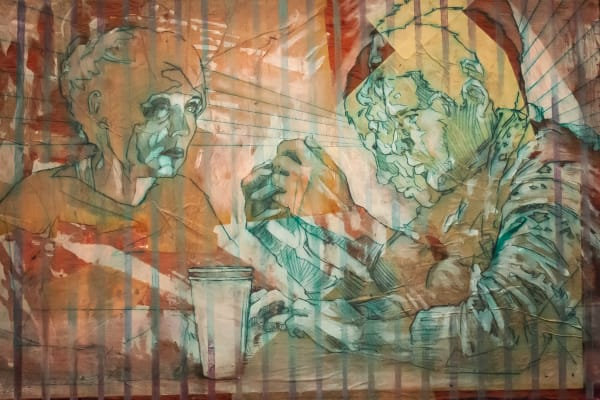 Contemporary figurative paintings about technology and lonliness