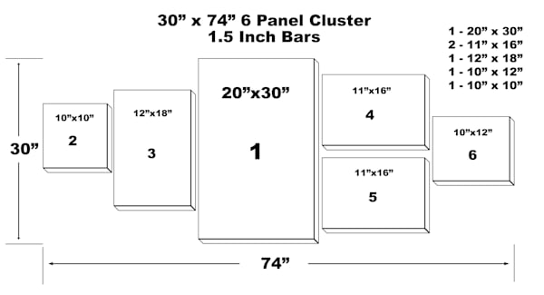 "30"" x 74"" 6 Panel Canvas Cluster"