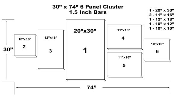 "30"" X 74"" 6 Panel Canvas Cluster | Chromazone Ink"