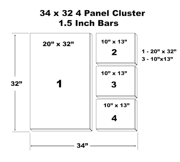 "34"" X 32"" 4 Panel Canvas Cluster | Chromazone Ink"