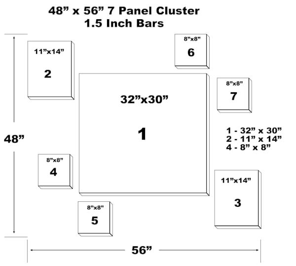 "48"" X 56"" 7 Panel Canvas Cluster | Chromazone Ink"