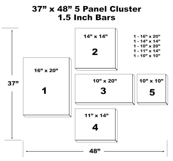 "37"" X 48"" 5 Panel Canvas Cluster | Chromazone Ink"