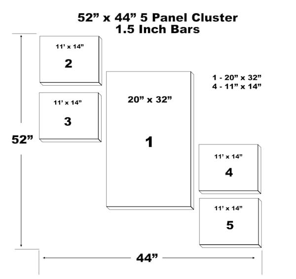 "52"" X 44"" 5 Panel Canvas Cluster | Chromazone Ink"