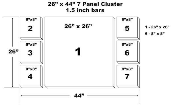 "26"" X 44"" 7 Panel Canvas Cluster | Chromazone Ink"