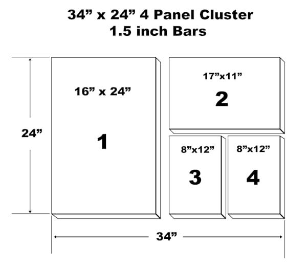 "34"" X 24"" 4 Panel Canvas Cluster | Chromazone Ink"