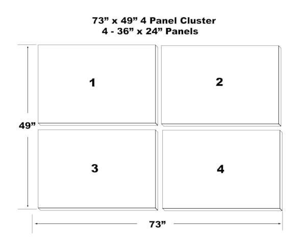 "73""X49"" 4 Panel Canvas Cluster   4   36""X24"" Panels | Chromazone Ink"