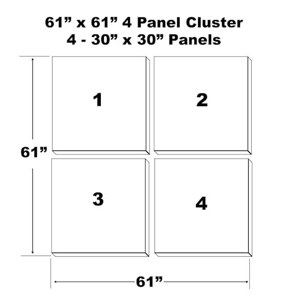 "61""X61"" 4 Panel Canvas Cluster   4   30""X30"" Panels | Chromazone Ink"