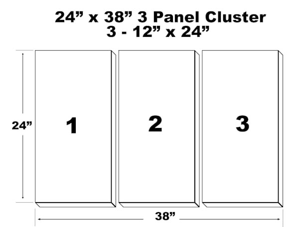 "24""X38"" 3 Panel Canvas Cluster   3   12""X24"" Panels 