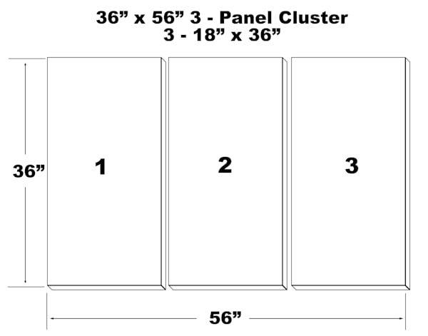 "36""X56"" 3 Panel Canvas Cluster   3   18""X36"" Panels 