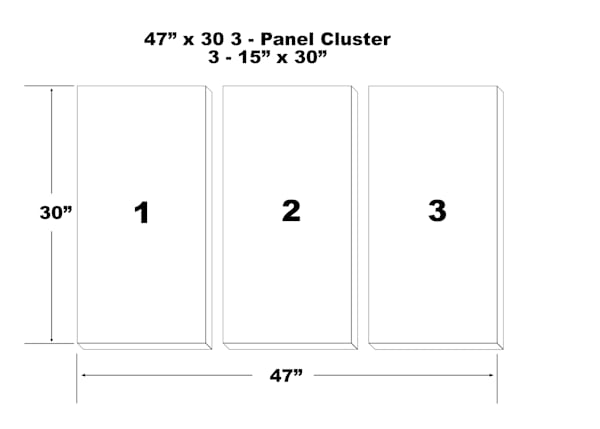 "47""X30"" 3 Panel Canvas Cluster   3   15""X30"" Panels 