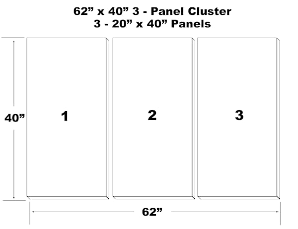 "62""X40"" 3 Panel Canvas Cluster   3   20""X40"" Panels 