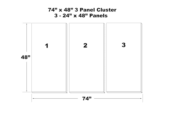 "74""X48"" 3 Panal Canvas Cluster   3   24""X48"" Panels 