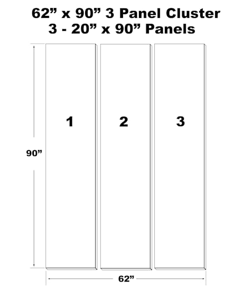 "62""X90""  3 Panel Canvas Cluster 