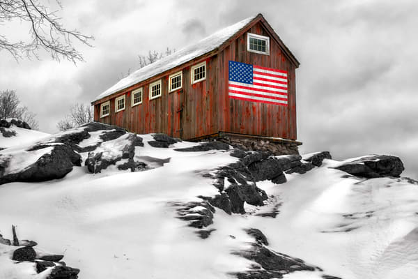 Roxbury Connecticut rustic barn displaying an American Flag | winter fine art photography scenic landscape