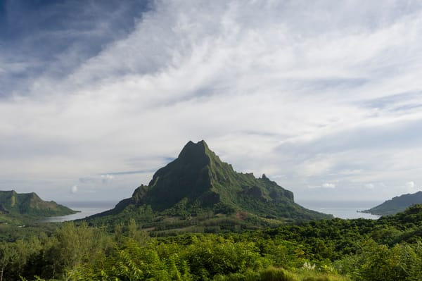 Belvedere, Moorea, French Polynesia; views of Mount Rotui (center) from the lookout point at Belvedere