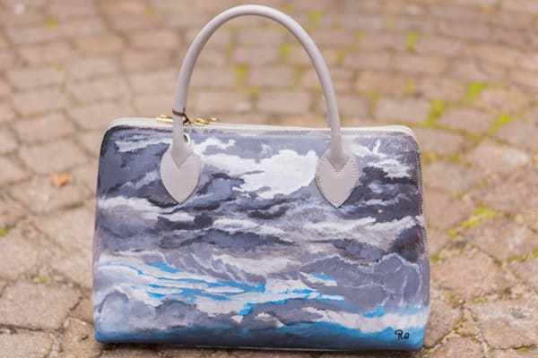 """The Rain Is Coming"" Hand Painted Leather Handbag by Rebecca Siccama"
