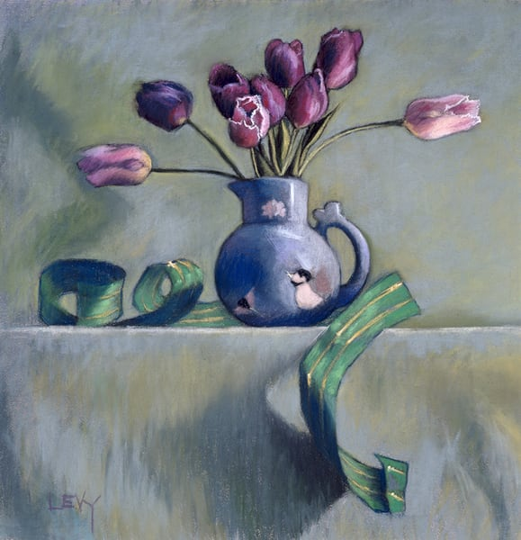 Purple Tulips & Green Ribbon