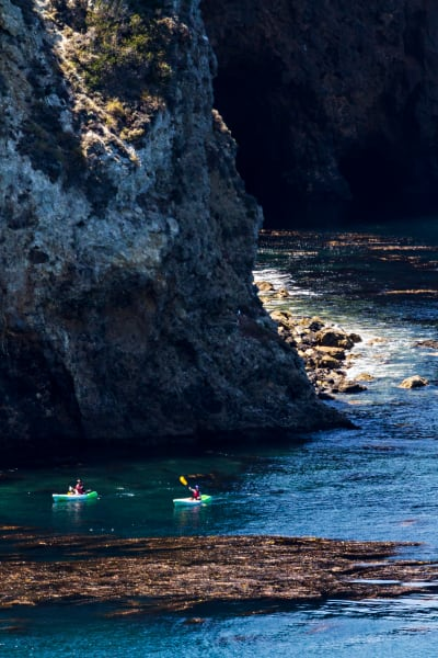 Santa Cruz Island Sea Cliffs With Kayakers Photograph for Sale as Fine Art