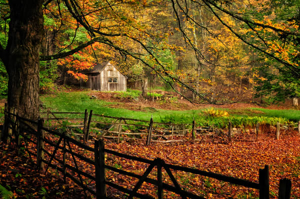Bucolic autumn scenic landscape featuring a quaint barn in a perfect countryside setting