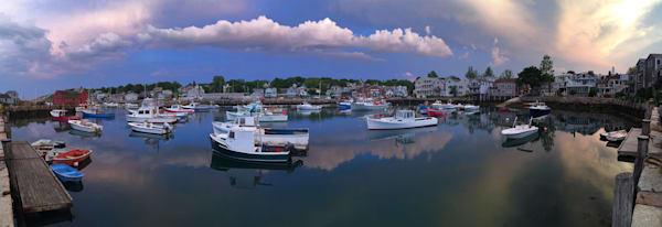 rockport harbor boats sunset panorama