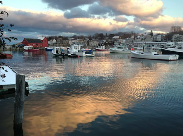 rockport harbor clouds reflections sunset motif #1