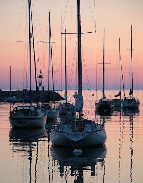 sailboats sunrise rockport harbor seascape