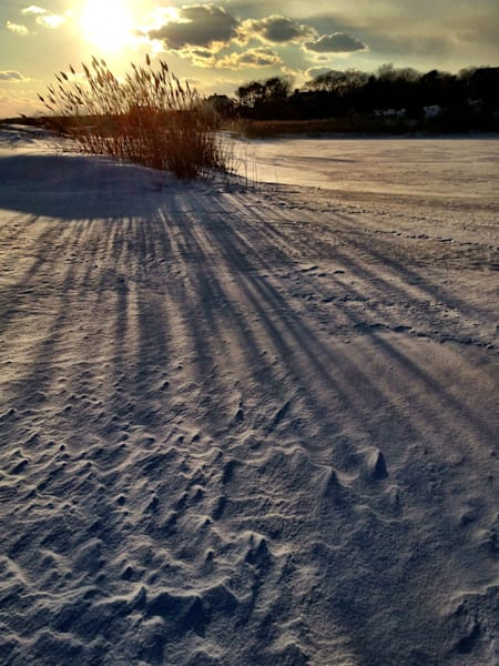 snow marsh shadows sunset rockport
