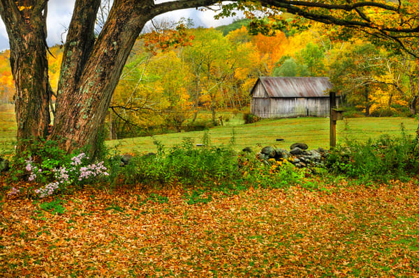 Pastoral Kent Connecticut countryside autumn foliage art prints/Kent Hollow rustic barn scene wall decor by Thomas Schoeller