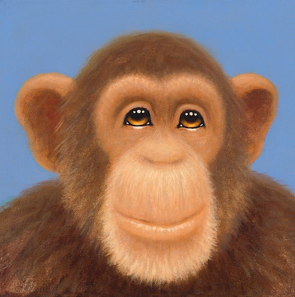Tiny Chimp Blue Art | Fine Art New Mexico