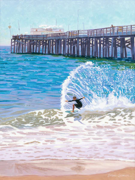 Balboa Pier Skimboarder painting