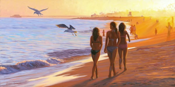 Girls Strolling the Shoreline on Balboa at Sunset