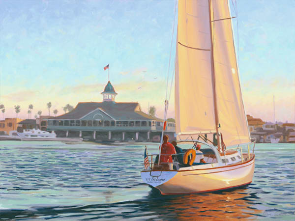 Tacking Sailboat in Newport Harbor