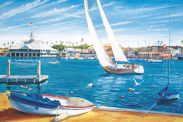 Sailboat in Newport Harbor Near Balboa Pavilion