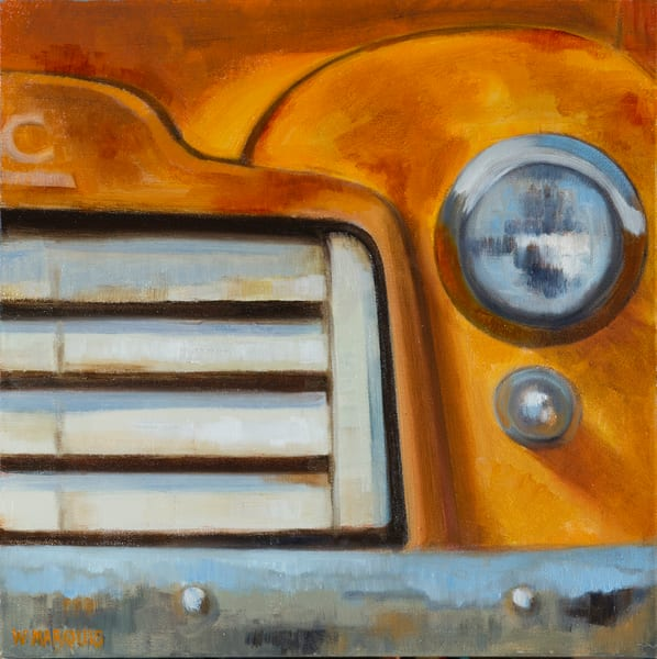 Rust and Wonder, orange GMC, grill, headlight