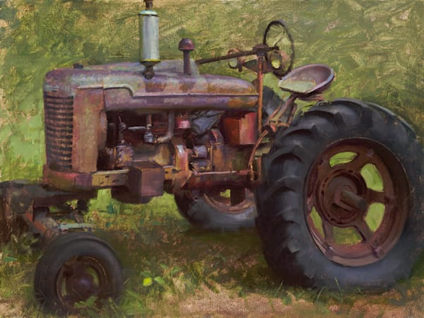 "Rusty Tractor Side View 16""x12"""