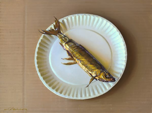 """Fish on Paper Plate 16""""x12"""""""