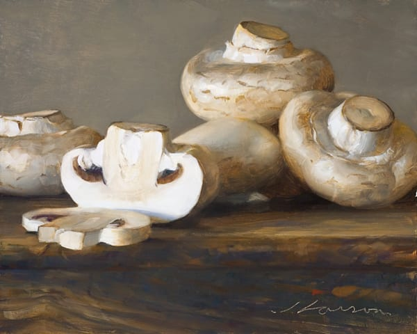 "White Mushrooms 10""x8"""
