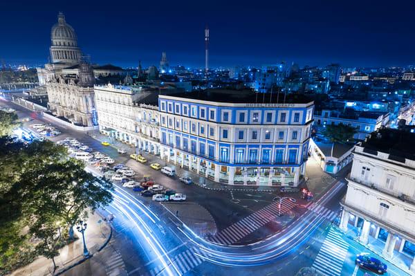 Night Lights Street Scene, Havana, Cuba