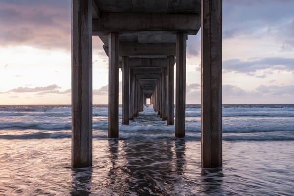 Scripps Pier Sunset Wave Wash, La Jolla, California