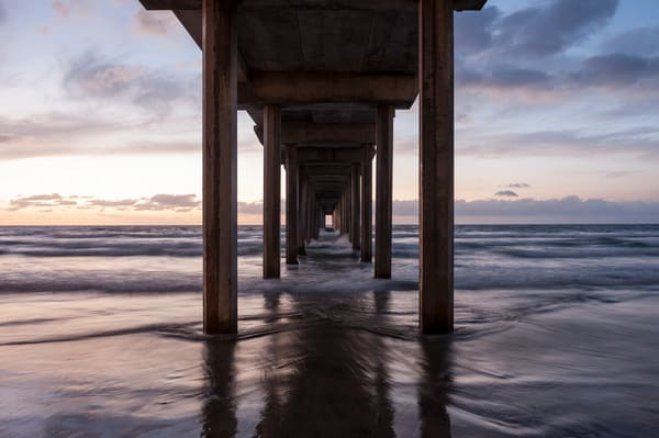 Scripps Pier Sunset Wave Reflections, La Jolla, California