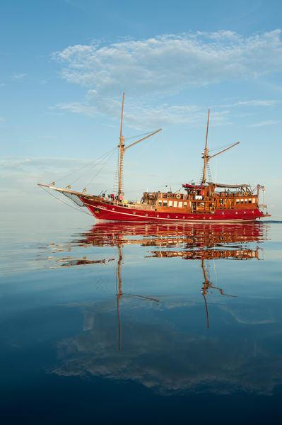 Sailboat Reflection, Raja Ampat, Indonesia