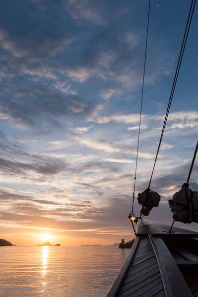 Sunset Sailbot Rigging, Triton Bay, Indonesia