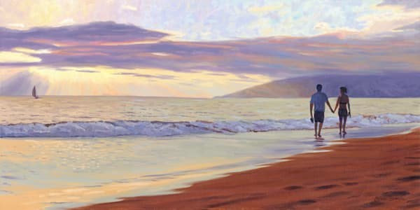 Couple on Beach in Wailea at Sunset