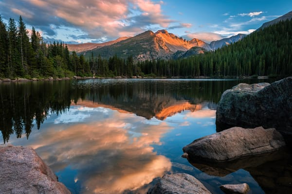 Under gorgeous sunset light/Colorado's Bear Lake in Rocky Mountain National Park as nature inspired fine art photography prints