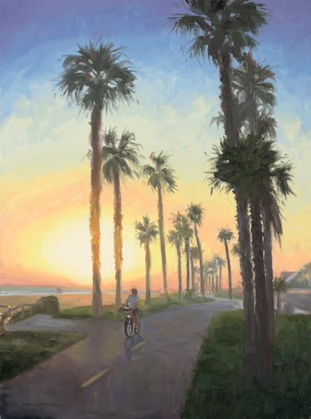 Huntington Beach Bike Path at Sunset