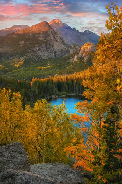Bear Lake scenic overlook at Sunrise through golden aspens/a Colorado Rocky Mountain scenic landscape fine art print by Thomas Schoeller