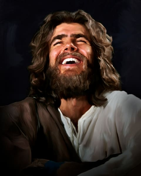 digital art painting of Joyous Jesus laughing