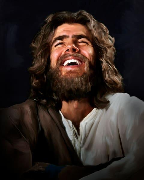 digital art painting of Joyous Jesus laughing